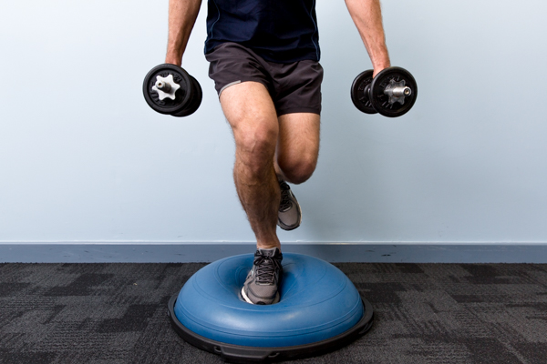 Bosu Squat Single Leg Weighted